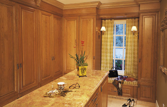 kitchen cabinets - custom built home - cherry wood