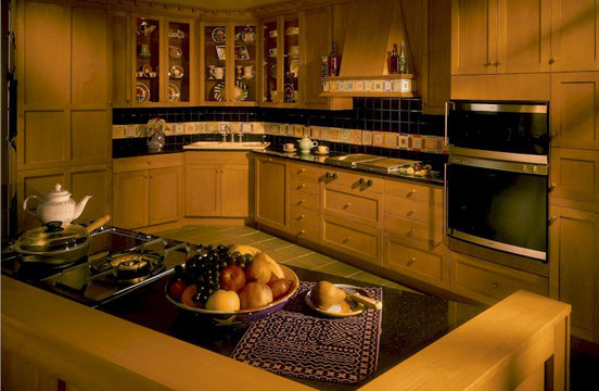 kitchen cabinets - custom built house - maple doors